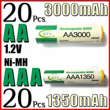 20 Piles rechargeables AAA 1350 mAh + 20 Piles rechargeables AA 3000 mAh - BTY