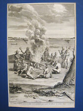 Virginia.Indios.Grabado original.B.Picart Paris 1730