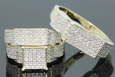 10K YELLOW GOLD .72 CT MEN WOMEN DIAMOND TRIO ENGAGEMENT WEDDING RING BAND SET