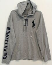 Polo Ralph Lauren Mens Gray Big Pony Polo 67 Hoodie L/S T-Shirt NWT Size L