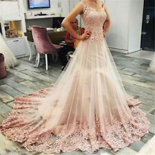 Sleeveless Tulle  A-Line Blush Pink Lace Princess Wedding Dresses Bridal Gowns