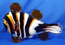 """Murano Italian Art Glass Clownfish Sculpture 5.5""""Tall X 8""""L with Box - Gift Idea"""