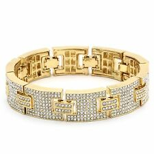 "Men's Gold Plated H Thick Link Clear Cz Stones Hip Hop Bracelet 9"" Inch"