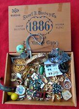 "VINTAGE ""TREASURE BOX"" ~ ""SAM DAVIS 1886 WOODEN CIGAR BOX"" ~ INCLUDES JEWELRY"