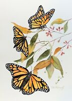 Monarch Butterflies Original Watercolor Painting