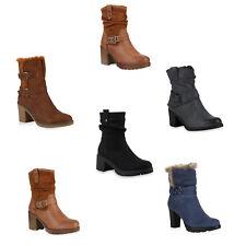 Damen Stiefeletten Warm Gefütterte Schnallen Blockabsatz Stiefel 891938 Schuhe
