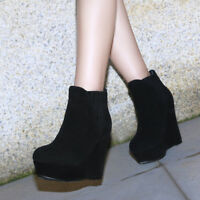 Elissara Womens High Heel Platform Wedge Ankle Boots Party Shoes UK Size 1.5-6