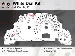 Vauxhall Combo C Van (2001 - 2011) - 120mph / 6000rpm - Vinyl White Dial Kit