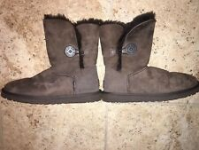 UGG AUSTRALIA Dark Brown Sheepskin Bailey Button Boots Worn Twice Size W8