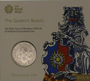 UK Royal Mint £5 Coins from the Queens Beasts Collection Brilliant Uncirculated