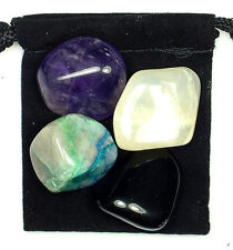 MENSTRUAL CRAMPS Tumbled Crystal Healing Set  = 4 Stones + Pouch + Description