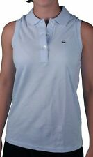 Lacoste Womens Light Blue Sleeveless Stretch Pique Polo Shirt Crocodile 10 42 NW