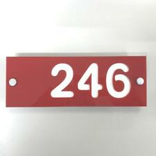 Rectangular Number House Sign - Red & White Gloss