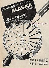 PUBLICITE CONTE CRAYON A PAPIER ALASKA DESSIN CROQUIS BOUSSOLE DE 1951 FRENCH AD