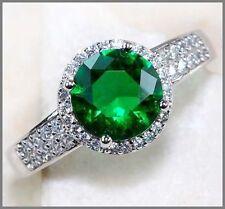 Emerald Topaz Sterling Silver Fine Gemstone Rings