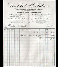 """PANTIN (93) TEINTURIER sur SOIE LAINE COTON """"LES FILS de Ph. JULIEN"""" en 1888"""