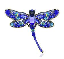 Crystal Rhinestone Animal Party Jewelry Classic Blue Dragonfly Bird Brooch Pin