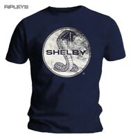Official T Shirt SHELBY American Mustang Car Cobra TEXTURE Navy Blue All Sizes