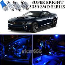 For Chevy Camaro 2010-2015 Blue LED Interior Light Kit + License Plate Light 6Pc