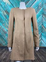 W by Worth Women's Coat P US 2 Small Tan Brown Snap Front Pockets Lined Stretch