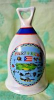 Puerto Rico Bell Souvenir iridescent finish with map almost 5 inches  tall