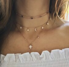 Sun Moon Stars Diamond Charm Choker Necklace 14k Rose Pink Gold F VS