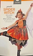 SPIDER WITCH COSTUME SIZE 7-8  BLACK, ORANGE AND SILVER