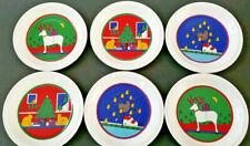 Houze Staffordshire England Christmas Plates Set of 6