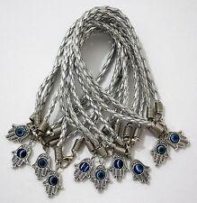 X 10 Argent Khamsa Bracelet Mauvais Oeil Amitié Kabbale Main De Fatima