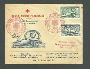 FRANCE 1952 Red Cross Croix Rouge Official Cover Envelope FDC CUPID