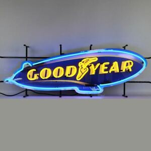 """Neon Sign - Goodyear Tires Blimp With Backing 41"""" - FREE 48-State US Shipping!"""