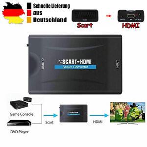 Scart zu auf HDMI Konverter Wandler AV Scaler Converter HD 1080P TV +USB Adapter