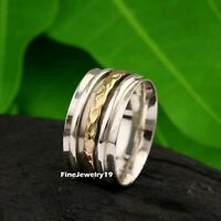925 Sterling Silver Spinner Ring Wide Band Meditation Statement Jewelry A491
