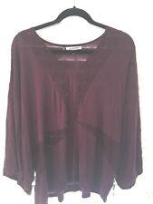 Jennifer Lopez JLO Womens Dolman Shirt Top Blouse Dark Red Purple size XL NWT