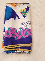 "Lanvin Paris Silk Scarf  Pink Blue White Orange 34"" x 34"" Italy NWOT NOS"