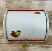 Vintage  Enameled Beige Red Metal Tin Bread Box Roll Top w Fruit