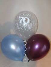 Claret Blue & Clear Printed 70th BIRTHDAY BALLOONS Party Decorations x 15 Helium