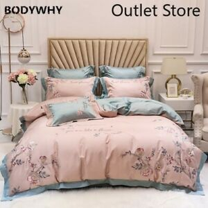 Elegant Embroidery Egyptian Cotton Bedding Set Bed Cover Cover 4/7pcs Bed Set