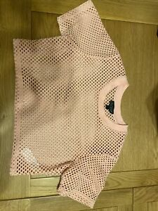 TOPSHOP BNWT RRP£15 UK12 Crop Top T-Shirt Mesh Cut Out Party Rave Festival Pink