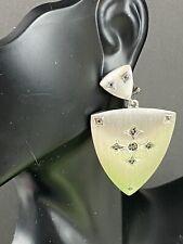 Sterling Silver Shield Earrings Black Diamonds Statement