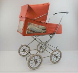 alter DDR Puppenwagen Sportwagen rot/orange Sichtfenster 60er  Retro #212771