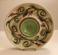 Vintage 2000 Gail Pittman Honeysuckle Ceramic Chip & Dip Platter Hand Painted