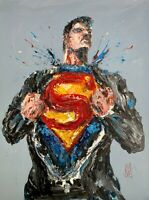"ORIGINAL Abstract Superman Opening Shirt Palette Knife Comic Art Painting 30x40"""