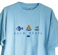 Vintage 90s Palm Beach Florida Sz XL Single Stitch T-shirt Sailboat C3