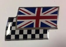 UNION COLOUR JACK/CHEQUERED FLAG Sticker/Decal - 90mm x 45mm GLOSS DOMED GEL