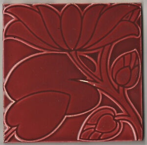 TILE ART & CRAFTS RELIEF MOLDED BY CFA VOYSEY IN MONOCHROME RED GLAZE PILKINGTON
