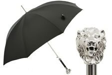 Pasotti Luxury SILVER LION BLACK UMBRELLA handmade 478 50890-5 W37 Italy