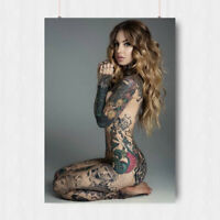 SEXY HOT GIRL WITH FULL BODY TATTOOS ART POSTER PRINT  A3 A4 SIZE