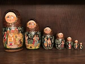 Vintage Fairytale Russian Nesting Dolls - Set Of 7