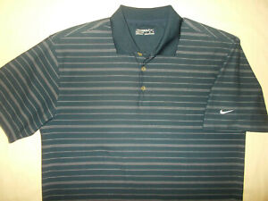 NIKE GOLF SHORT SLEEVE NAVY BLUE STRIPED POLO SHIRT MENS LARGE EXCELLENT COND.